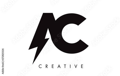 Photo AC Letter Logo Design With Lighting Thunder Bolt