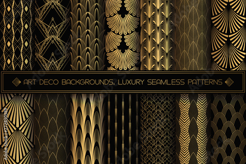 Papel de parede  Art Deco Patterns. Seamless black and gold backgrounds.
