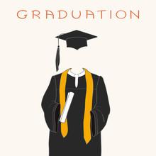 Graduation Gown, Cap And Diploma. Handwritten Inscription Graduation.