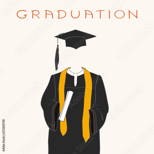 Graduation gown, cap and diploma Canvas Print
