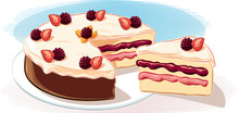 A Cake Covered With Fruit Crea...