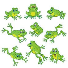 Set Of Nine Funny Frogs In Var...