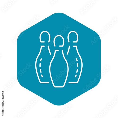 Bowling white pins icon  Outline bowling white pins vector
