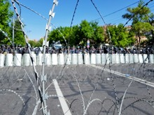 Barbed Wire Fence Set Up By Police During A Riot