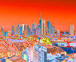 canvas print picture - Frankfurt am Main in color in the morning