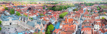 Large Aerial View Panorama Of The Historic Part Of Bruges, Belgium