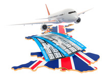 Flights To The Great Britain Concept. 3D Rendering