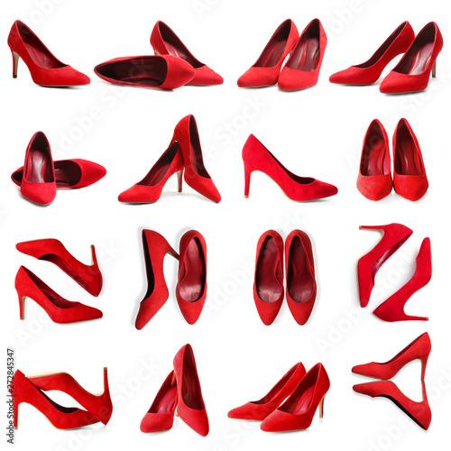 Obraz na plátne Set of stylish high heel shoes on white background