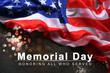 USA flag and text on color background, top view. Memorial day