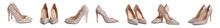 Pair Of Female Shoes On White Background