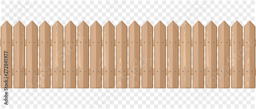 Endless wooden fence on a transparent background Fototapeta