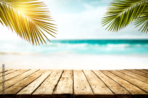 Poster Palmier Summer background of free space and beach landscape