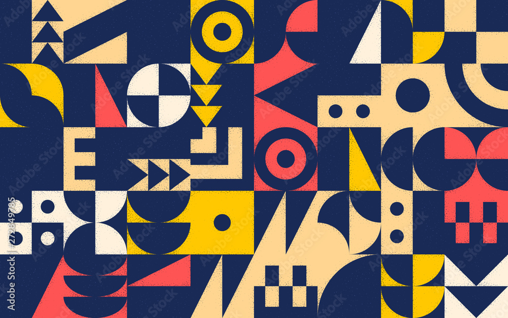 Fototapeta Geometric retro pattern with 30s styled shapes