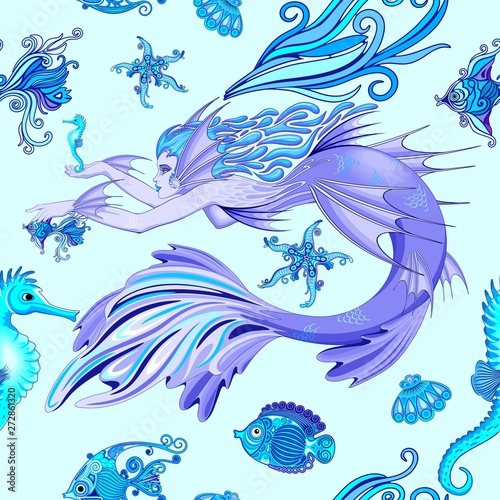 Photo Stands Draw Mermaid Purple Fairy Creature Seamless Pattern Vector Textile Design