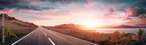 Fototapeta Road Trip - Scenic Landscape With Highway At Sunrise obraz