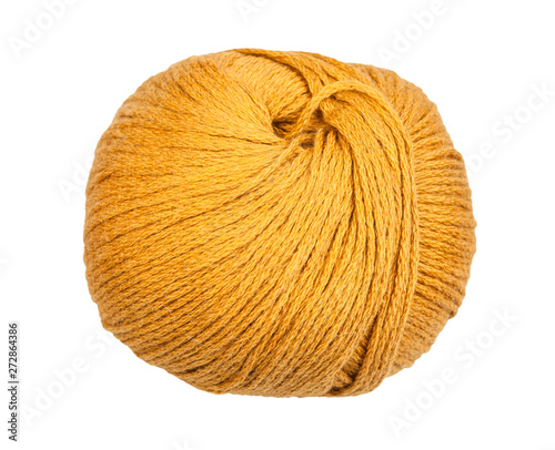Fotografiet  skein of yellow yarn isolated on white
