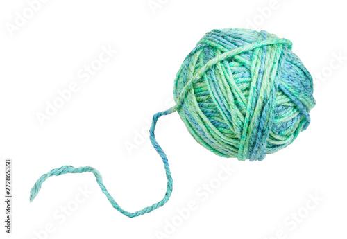 Canvastavla  skein of greenish blue yarn with unwound tail