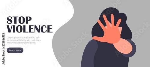 Obraz na plátně Stop violence vector landing vector concept. Abuse