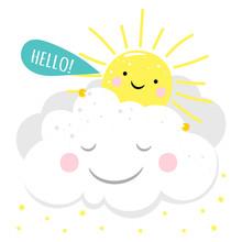 Cartoon Character Cute Sun Say...