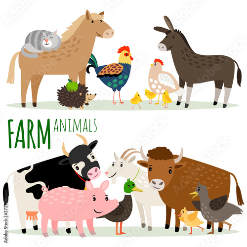 Farm animals cartoon characters vector groups isolated on white background #272868329
