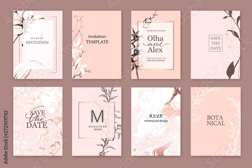 Valokuva  Set of elegant chic blush cards with pink lilies, white and rose gold marble texture
