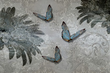 3d Wallpaper Texture, Gerbera Daisy And Butterflies On Concrete Wall Background. Murals Effect. The Fresco Effect.