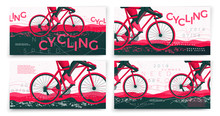 Vector Typographic Bicycle Banners Template Set, With Cyclist, Grunge Textures, And Place For Your Texts.