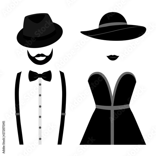 Valokuva  Gentleman and lady icon isolated on white background.