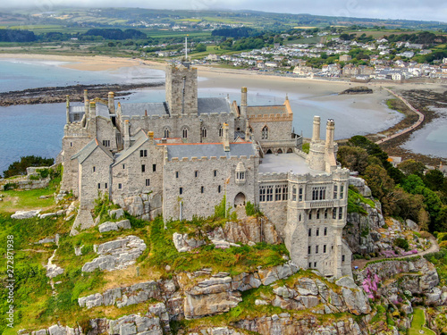 Aerial view St Michael's Mount is a small tidal island in Mount's Bay, Cornwall, England, United Kingdom Poster Mural XXL
