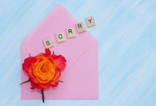 Word Sorry, Flower And Envelope On Blue Background.