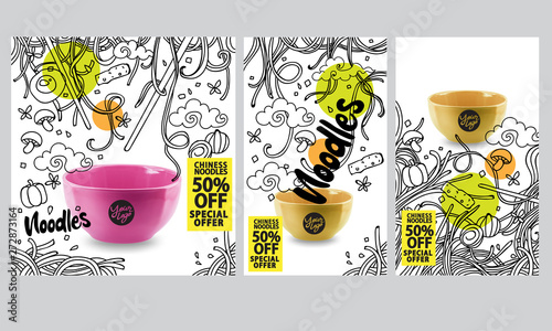 Hand drawn vector illustration promotional leaflet with Asian food Canvas Print