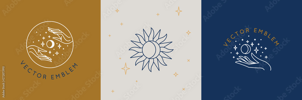 Fototapeta Vector abstract logo design template in trendy linear minimal style - hands, moon and stars - abstract symbol for cosmetics and packaging, jewellery, hand crafted  or beauty products
