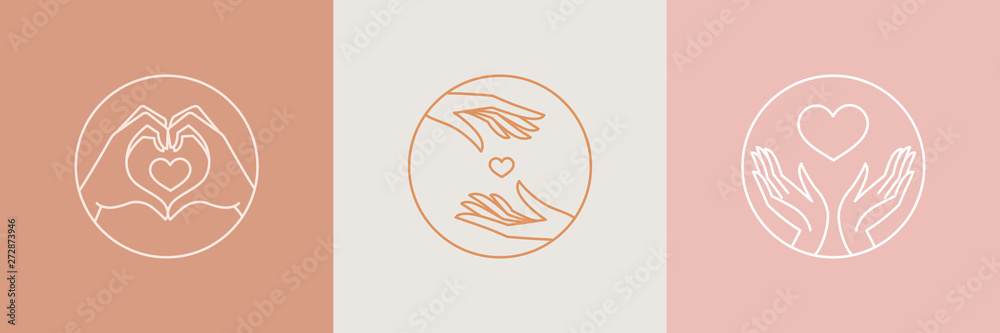 Fototapeta Vector abstract logo design template in trendy linear minimal style - hands making heart shape - abstract symbol for cosmetics and packaging, jewellery, hand crafted  or beauty products