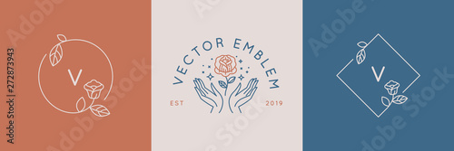 Photo Vector abstract logo design templates in trendy linear minimal style - hands wit