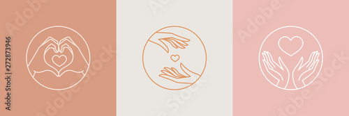 Vector abstract logo design template in trendy linear minimal style - hands making heart shape - abstract symbol for cosmetics and packaging, jewellery, hand crafted  or beauty products
