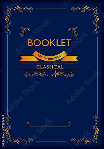 バロック調の背景素材(紺とゴールド)_テンプレート・フォーマット_飾り罫のフレーム_ベクターデータ