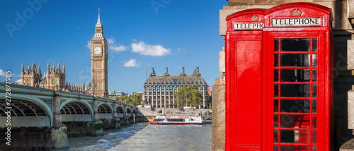 Garden Poster London London symbols, Big Ben and Red Phone Booths with boat on river in England, UK
