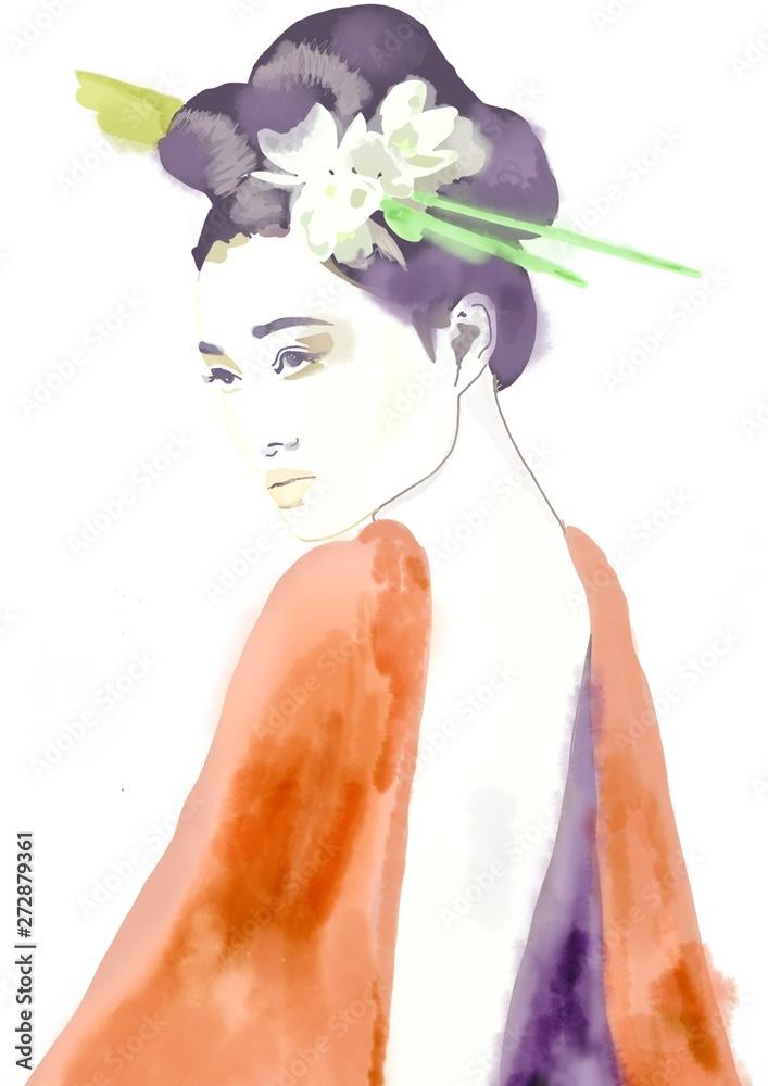 geisha. woman in kimono. asian woman. fashion background.