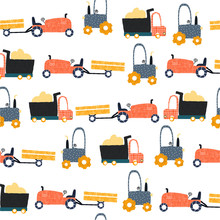 Seamless Pattern With Funny Farm Transports. Kids Trendy Print. Vector Hand Drawn Illustration.