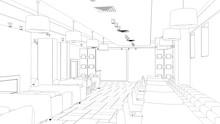 Restaurant, 3D Illustration, S...