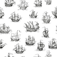 Old Caravel, Vintage Sailboat. Vector Seamless Pattern