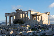 The Porch Of The Caryatids In The Erechtheion At Acropolis Of Athens, Attica, Greece