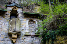 Ruins Of A Charming Church Building Built Into The Rock Walls By Pont Adolphe In Luxembourg City, Luxembourg