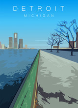 Detroit Modern Vector Poster. Detroit, Michigan Landscape Illustration.Top 20 Most Populated Cities Of The USA.