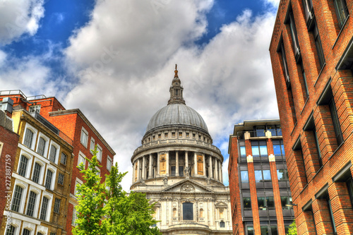 Colorful HDR image of the famous dome of the St Paul's Cathedral on blue sky Canvas Print