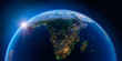 canvas print picture - Earth at night and the light of cities. South Africa and Madagascar.