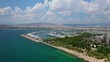 Aerial video of famous Marina Floisvou with luxury yachts and sail boats in the heart of Faliro, Athens, Attica, Greece