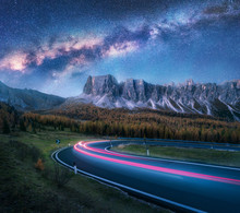 Milky Way Over Mountain Road. ...