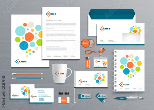 Fotografía  Corporate Business  Identity template design Vector abstract stationery , Gift Items Color promotional souvenirs elements