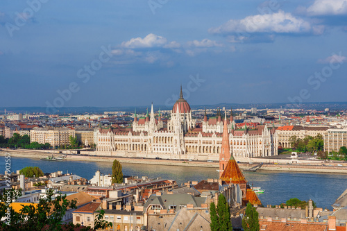 Photo Stands Europa Beautiful view of Budapest historic center with the famous Hungarian Parliament and Danube River